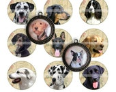 Dogs (2) - circles image - digital collage sheet - 1 inch - instant download