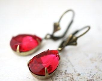 50% OFF Earrings, Rose Pink Pear crystal droplet dangle earrings No. 377 1