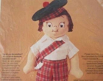 New Unopened 1980 Campbell Kid Doll Kids Expressly For Campbell Soup Company Scottish Theme