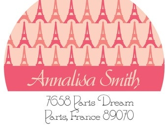 Address Labels - Eiffel Tower Return Address Labels -  Personalized Stickers, Shipping Labels