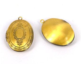 Oval Locket - 1pcs Antique Bronze Tone oval Locket, Flower pattern Photo Frame locket Pendant #H8612