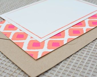 Ikat Pattern Double-Sided Flat Notecards