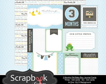 3 Months Old Journal Cards. Baby Boy Digital Scrapbooking. Project Life. Instant Download.