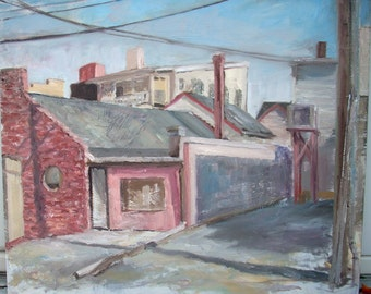 Original Landscape Oil Painting-Saturday Morning Downtown