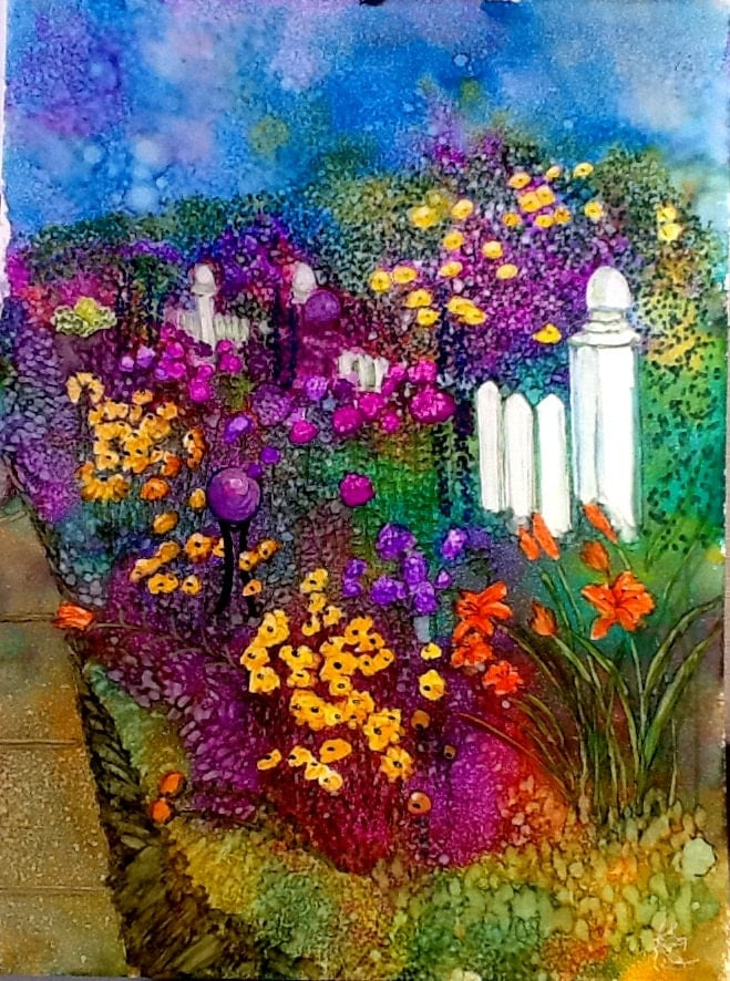 Alcohol Ink Art Original Painting Front Yard Garden
