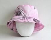 "Organic Cotton Pink Girls Sun hat, Girl Sunhat,  Size 19""  Floral sunhat"