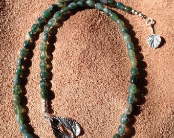 Moss Agate with Hand Cast Sterling Silver Leaf Toggle Clasp