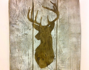 Stags head silhouette - On dark rustic reclaimed wood-slatted wall art design