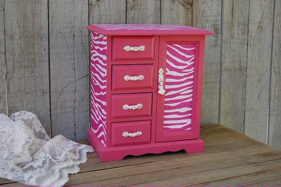 Jewelry Box Armoire Hot Pink Zebra Decoupage