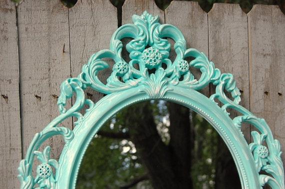 Specchio specchio shabby chic barocco verde di - Specchio ovale shabby chic ...