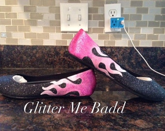Pink flamed out Glitter flats