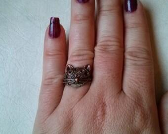 Repurposed  Metal Cat Adjustable Ring