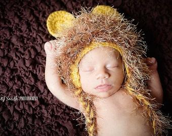Little Lion Hat, Halloween Baby Hat, Knit Lion Hat, baby boy knit hat,  Photo Prop Newborn, Knit baby little lion hat
