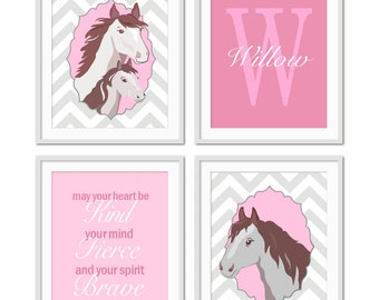 Horse Nursery Decor, Girl Horse Art, Pony Art, Tween Horse Decor, May Your Heart Be Kind, Tween Horse Art