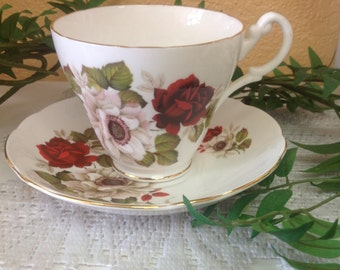 Royal Ascot Red Roses Teacup and Saucer in Bone China Made in England