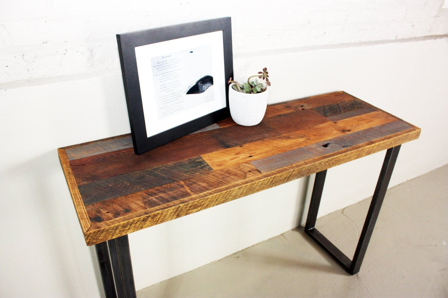 Foyer Table Name : Reclaimed wood console table patchwork entryway hall