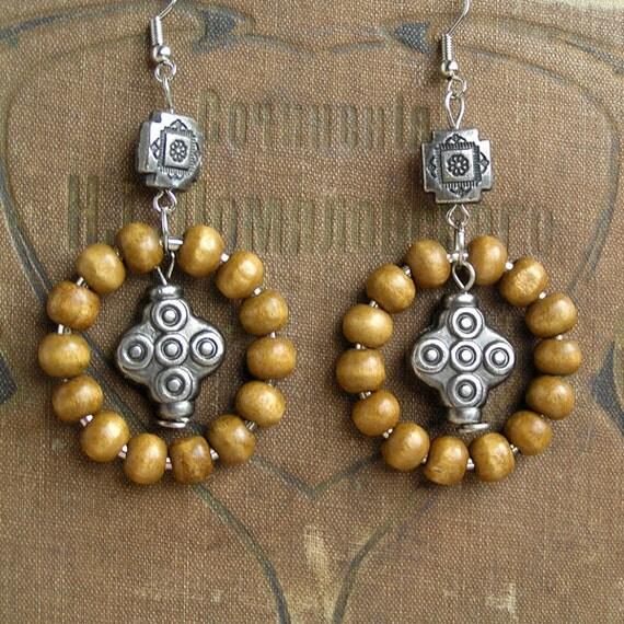 handmade earrings vintage wooden jewelry earrings