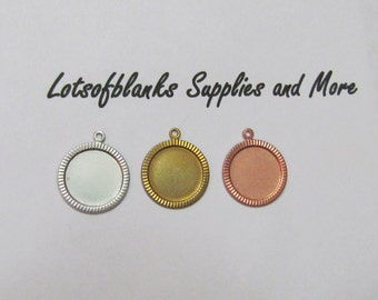 3/4  Beveled  Circle -  Nickel Silver - Copper  & Brass Bezels - Hand stamping metal disc  -Stamping Supplies 5 or more