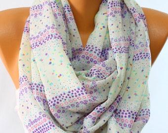 Silky Chiffon Scarf Pearl Scarf Purple Daisy Print Floral Scarf Lightweight Scarf Wrap Women Fashion Accessories Women Scarves Gift Ideas