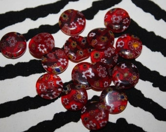 Red Millifiori Coin Beads