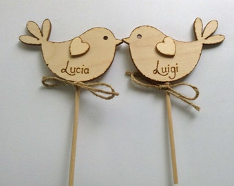Personalised Rustic Wedding Cake Topper, Perfect Wedding Bird Cake Topper - Romantic Cake Topper, Wooden Cake Topper