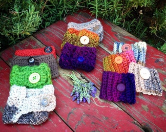 Crochet Cup Cozy, Cup Sleeve, Warmer for Hot or Cold Drinks--Adjustable