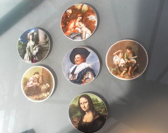 Vintage plaques pictures by the old masters Mona Lisa Laughing Cavalier etc a set of six round porcelain tiles table mats wall decorations