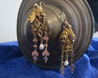 Exotic Victorian 1860s 14K Pierced Dangling Earrings