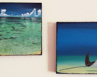 """Stingray Painting and Ocean Painting Acrylic on Canvas 15""""x15"""" each, Ready To Hang All Edges Finished, Seascape Art, Ocean Wall Art"""