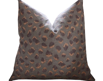 Kelly Wearstler Feline Pillow Cover in Taupe Raisin