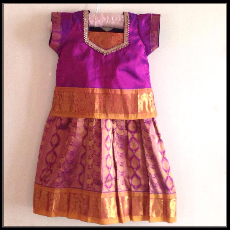 kids kachipuram pattu pavada south indian traditional dress