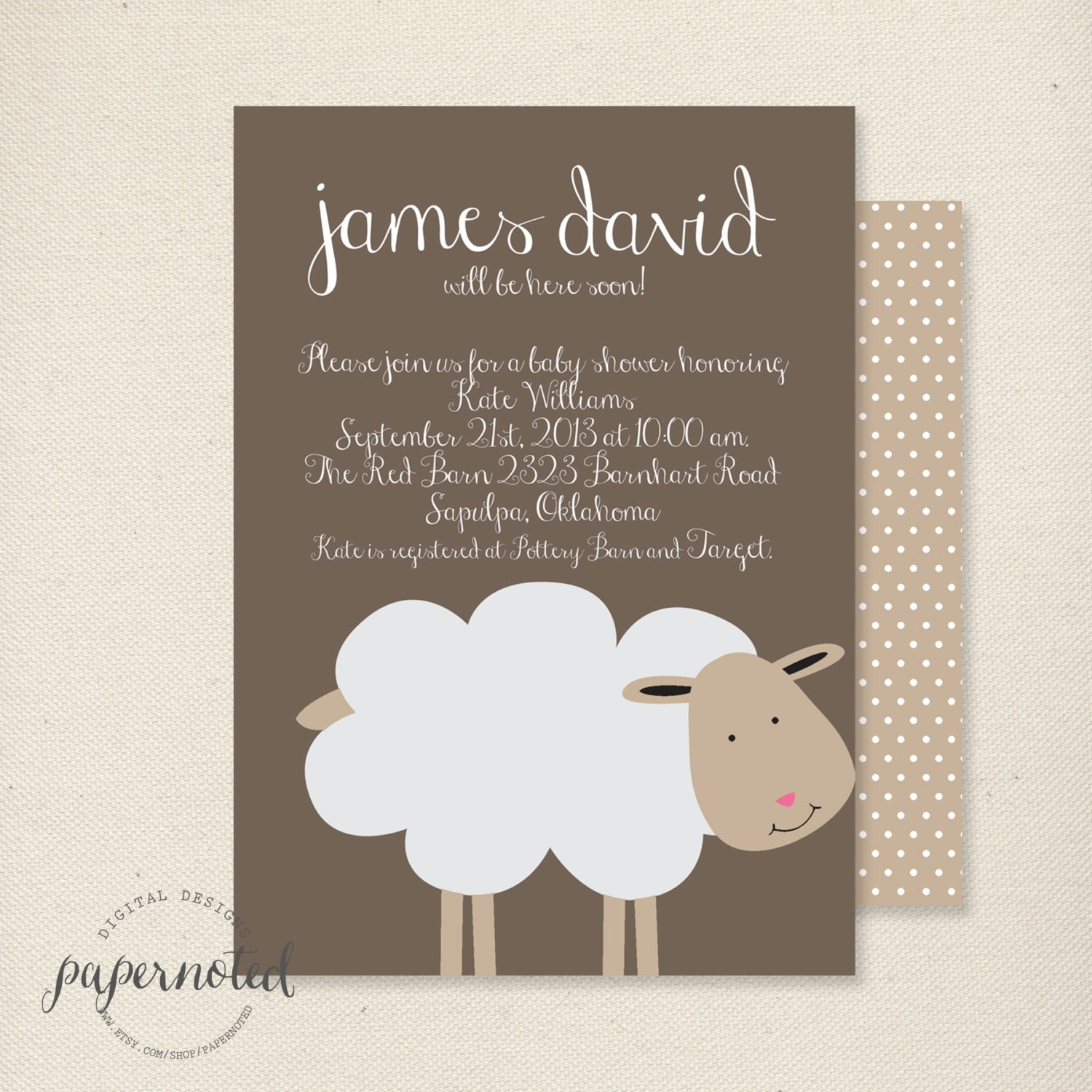 Sheep Baby Shower Invitation // Baby Shower Invitaiton