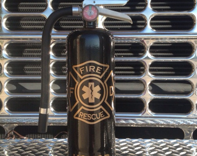 Firefighter Lamp. Honor, Duty, Courage. Custom painted repurposed fire extinguisher lamp.