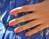 Silver Midi Rings - Stackable Ring - Midi Ring - Silver Ring - Plain Band Rings - Above The Knuckle Rings - Ring Set Of 5
