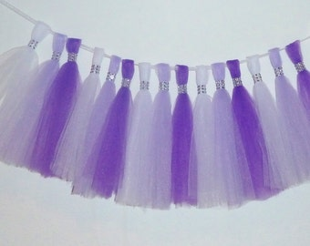 lavender purple white tulle tassel fringe bling garland wedding baby bridal shower nursery decor quinceanera doc birthday party ORIGINAL