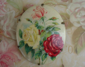 Vintage Celluloid Roses Brooch