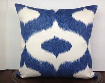 Whimsical, Blue Ikat Pillow Cover, 20x20 Decorative Pillow, Accent Pillow