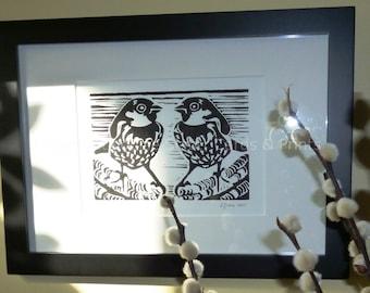 Sparrow Pair Lino Print