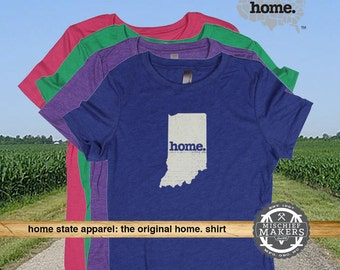 Indiana Home. T-shirt- Womens Red Green Royal Pink Purple