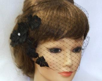 Black Birdcage veil,Blusher veil with Motif 9 inch French net Veil.Lace fascinator birdcage veil Bandeau birdcageVeil,wedding Hair accessory