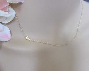 Extra tiny Gold Sideways Cross Necklace, Faith Necklace, Kelly Necklace, Celebrity Inspired