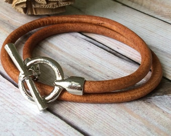 Distressed Tan Leather Bracelet with an Antique Silver Toggle Clasp, Double Wrap Bangle, Men's Leather Bracelet. Unisex Leather Bracelet