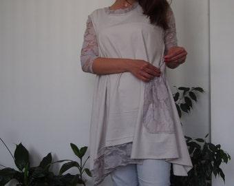 Long Tunic Oversized Lace Detail Cotton Lycra Tunic Mini Dress & Nara TT035