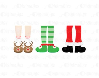 Jolly Feet Clipart, Commercial Use, Holiday Clipart of Reindeer Slippers, Santa Boot Clipart, Elf Clipart. Unique Clipart, Winter Slippers