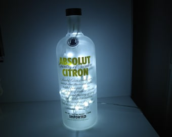 Upcycled Modern Cool Absolut Citron Vodka Bottle Lamp - Rare 1L - by iluvlamp