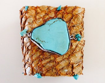 Light Brown/Tan Fish Leather Cuff Bracelet - Turquoise Agate Slice Encased in Silver Bezel - Turquoise Stone Beads