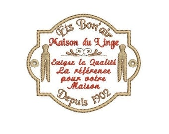 Instant Download Machine Embroidery Vintage Laundry Label
