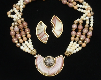 Polished Stone 4-Strand Necklace & Earrings Set Vintage