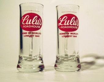 Set of two Lulu's Roadhouse souvenir apertif/shotglasses
