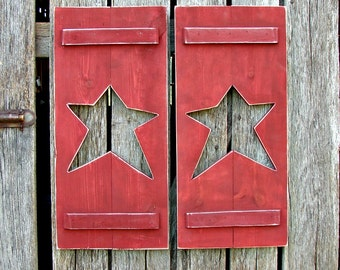 "Hand made Shutters with star 11"" X 24""  2 in a set."